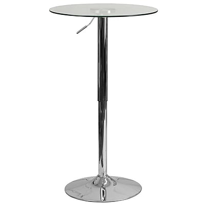 Flash Furniture 23.5'' Round Adjustable-Height Glass Table (Adjustable Range 33.5'' to 41'') (CH5)