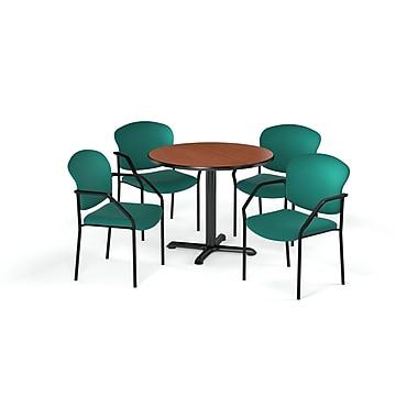 OFM – Table ronde et polyvalente de 36 po en stratifié cerisier de la gamme X et 4 chaises bleu marine (845123075180)