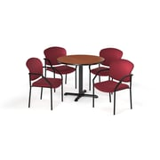"OFM  36"" Round Laminate Multi-Purpose X-Series Table with 4 Chairs, Cherry Table/Wine Chair (PKG-BRK-143-0003)"