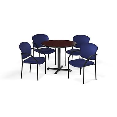 OFM – Table ronde et polyvalente de série X de 36 po en stratifié acajou avec 4 chaises bleu marine (845123075784)
