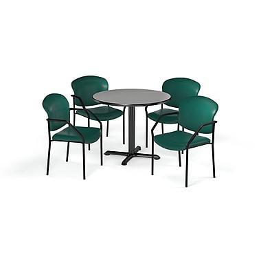 OFM – Table ronde, polyvalente de série X de 36 po, stratifié sarcelle nébuleux, 4 chaises sarcelle (845123075517)