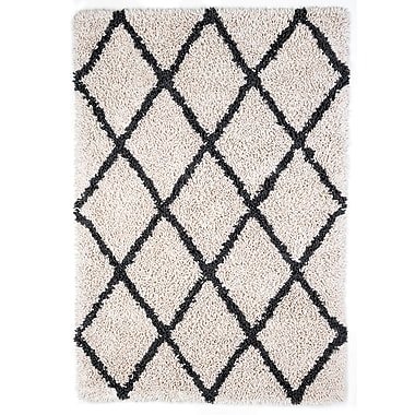 Anji Mountain 8' x 10' Ivory Silky Shag Rug With Grey Diamond (AMB0657-0810)