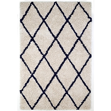 Anji Mountain 5' x 8' Ivory Silky Shag Rug With Navy Diamond (AMB0658-0058)