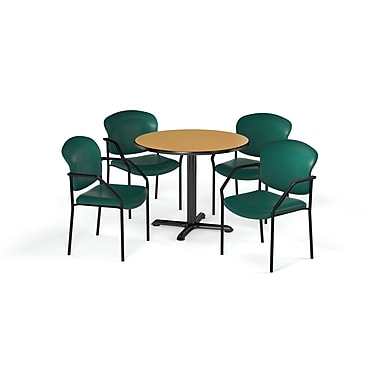OFM – Table ronde et polyvalente de série X de 42 po en stratifié chêne avec 4 chaises couleur bleu sarcelle (845123078419)