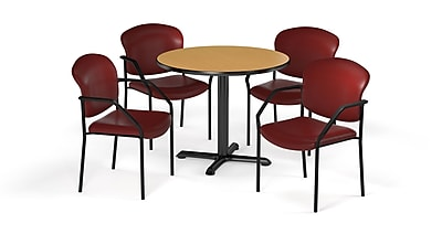 "OFM  42"" Round Laminate Multi-Purpose X-Series Table with 4 Chairs, Oak Table/Wine Chair (PKG-BRK-156-0017)"