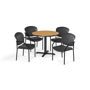 OFM – Table ronde/polyvalente de série X de 42 po en stratifié chêne PKG-BRK-156-0018 avec 4 chaises anthracite (845123078433)