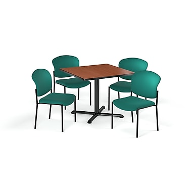 OFM – Table carrée et polyvalente de série X de 42 po en stratifié cerisier avec 4 chaises bleu sarcelle (845123078761)
