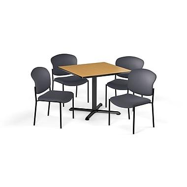 OFM – Table carrée et polyvalente de série X de 36 po en stratifié chêne avec 4 chaises grises (845123077306)