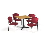 """OFM  42"""" Square Laminate Multi-Purpose X-Series Table with 4 Chairs, Oak Table/Wine Chair (PKG-BRK-163-0018)"""
