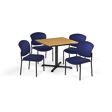 OFM – Table carrée et polyvalente de série X de 42 po en stratifié chêne avec 4 chaises bleu marine (845123079652)