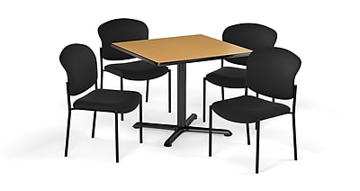 "OFM 36"" Square Laminate Multi-Purpose X-Series Table with 4 Chairs, Oak Table/Black Chair (PKG-BRK-151-0020)"
