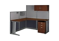 Bush Business Furniture Office in an Hour 65W x 65D L-Workstation with Storage and Accessory Kit, Hansen Cherry (WC36494-03STGK)