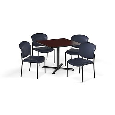 OFM – Table carrée et polyvalente de série X de 42 po en stratifié acajou avec 4 chaises bleu marine (845123079416)