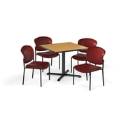 """OFM  36"""" Square Laminate Multi-Purpose X-Series Table with 4 Chairs, Oak Table/Wine Chair (PKG-BRK-152-0017)"""