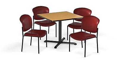 "OFM  36"" Square Laminate Multi-Purpose X-Series Table with 4 Chairs, Oak Table/Wine Chair (PKG-BRK-152-0017)"