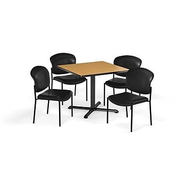 OFM – Table carrée et polyvalente de série X de 36 po en stratifié chêne avec 4 chaises noires (845123077399)