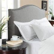Dorel Living – Tête de lit en lin avec têtes de clous, grand lit/deux places, gris