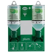 Plum Small Open Mount Eyewash Station with 2x 500ml Saline Bottle with Eyecup Sterile
