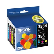Epson 288XL DURABrite Ultra, High Yield Black and Standard Yield Colour Combo Ink Cartridges, 4/Pack (T288XL-BCS)