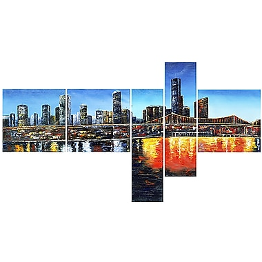 Designart Urban Landscape, 5 Piece Gallery-wrapped Canvas Art, (PT2009 - 414)