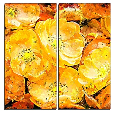 Designart Orange Yellow Flower Bouquet Floral Canvas Art Print, (PT3437-40-40-2P)