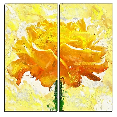 Designart Yellow Rose Floral Canvas Art Print, (PT3438-40-40-2P)