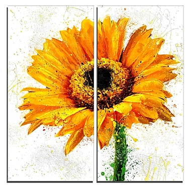 Designart Yellow Sunflower Floral Canvas Art Print, (PT3439-40-40-2P)