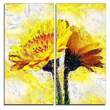 Designart Pair of Yellow Flowers Floral Canvas Art Print, (PT3440-40-40-2P)