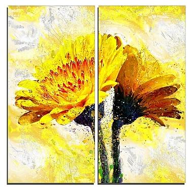 Designart – Motif floral imprimé sur toile, paire de fleurs jaunes (PT3440-40-40-2P)