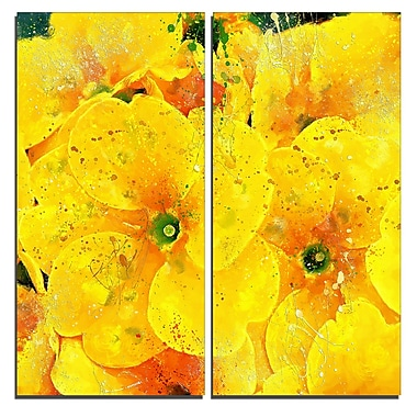 Designart Bunch of Yellow Flowers Floral Canvas Art Print, (PT3441-40-40-2P)