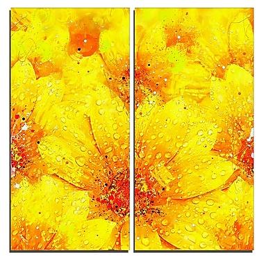 Designart Yellow Thicket Floral Canvas Art Print, (PT3442-40-40-2P)