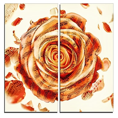Designart Musical Rose Floral Canvas Art Print, (PT3445-40-40-2P)