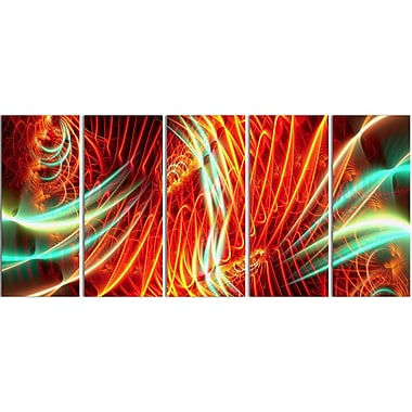 Designart Abstract Light Show, 4 Piece Red and Green Canvas Art, (PT3021-401)
