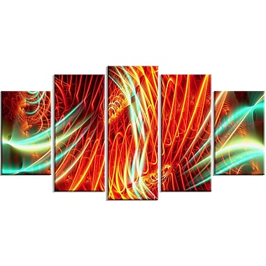 Designart Abstract Light Show, 4 Piece Red and Green Canvas Art, (PT3021-373)