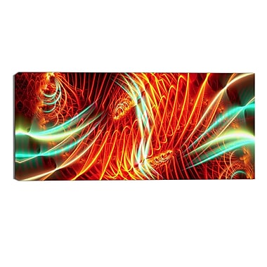Designart Abstract Light Show, 4 Piece Red and Green Canvas Art, 16