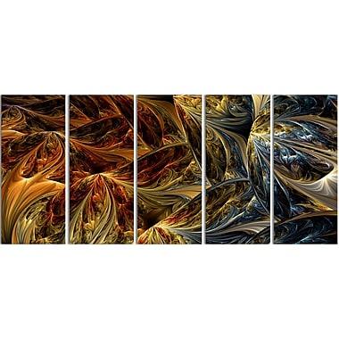 Designart Abstract Molten Gold, 4 Piece Large Canvas Print, (PT3022-401)