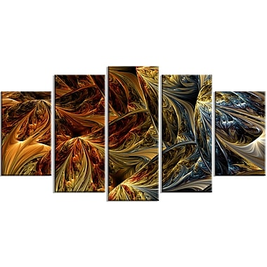 Designart Abstract Molten Gold, 4 Piece Large Canvas Print, (PT3022-373)