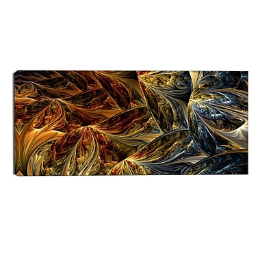 Designart Abstract Molten Gold, 4 Piece Large Canvas Print, 16