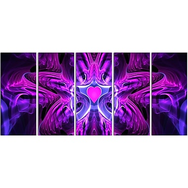 Designart Abstract Heart at the Center, 4 Piece Purple Canvas Art Set, (PT3024-401)