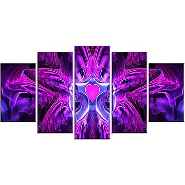 Designart – Ensemble d'art abstrait violet, cœur au centre, 4 panneaux (PT3024-373)