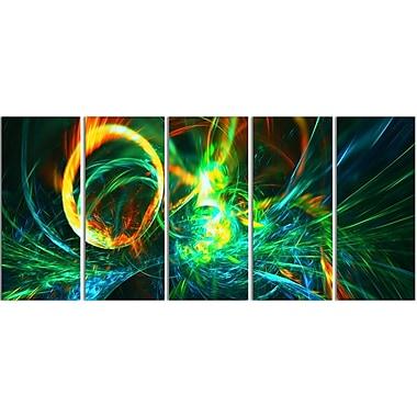 Designart Abstract Fire Green, 4 Piece Canvas Art Print, (PT3025-401)