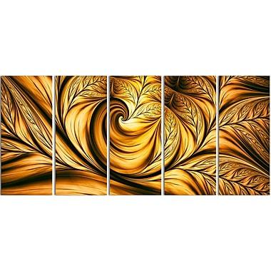Designart – Toile imprimée étirée, abstrait, Rêves dorés, 5 panneaux (PT3026-401)