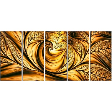 Designart Abstract Golden Dream, 5 Piece Gallery-Wrapped Wall Print Art, (PT3026-401)