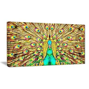 Designart Flashy Feathers Peacock Canvas Art Print, 40