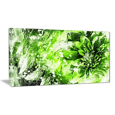 Designart Green and White Floral Art Canvas Art Print, 40
