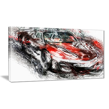 Designart Black and Red Sports Car Small Gallery Wrapped Canvas, (PT2618- 32 x16)