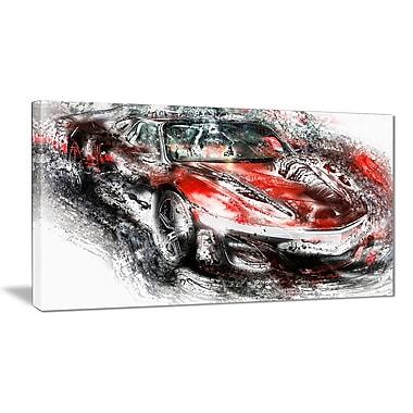 Designart – Voiture sport rouge et noire, petite toile de style galerie (PT2618-32x16)