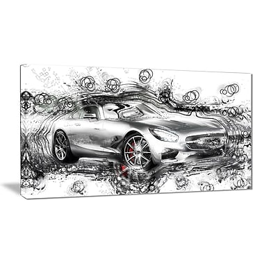 Designart Abstract Grey Luxury Car Small Gallery Wrapped Canvas, (PT2619- 32 x16)