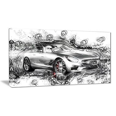 Designart – Voiture luxueuse grise abstraite, petite toile de style galerie (PT2619-32x16)