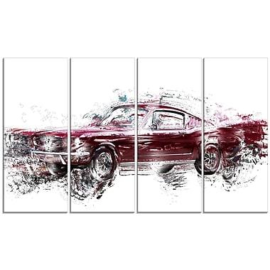 Designart Wine Coloured Muscle Car Canvas Art Print, (PT2657-48-24)